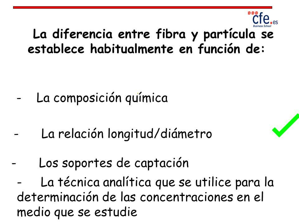 La diferencia entre fibra y partícula se establece habitualmente en función de: