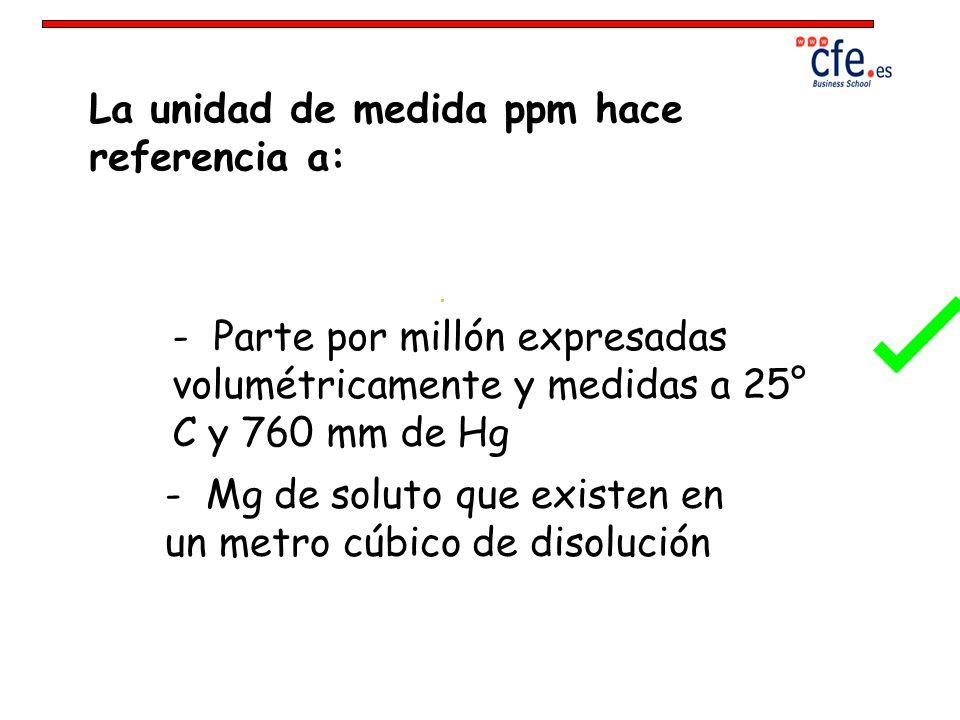 La unidad de medida ppm hace referencia a: