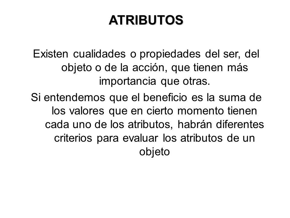 ATRIBUTOSExisten cualidades o propiedades del ser, del objeto o de la acción, que tienen más importancia que otras.