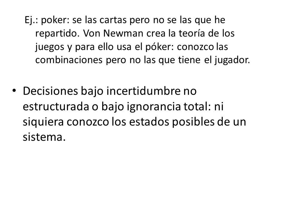 Ej. : poker: se las cartas pero no se las que he repartido