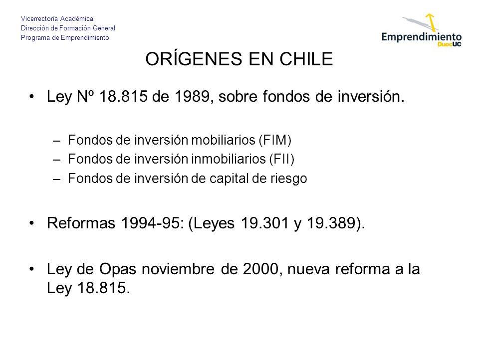 ORÍGENES EN CHILE Ley Nº 18.815 de 1989, sobre fondos de inversión.