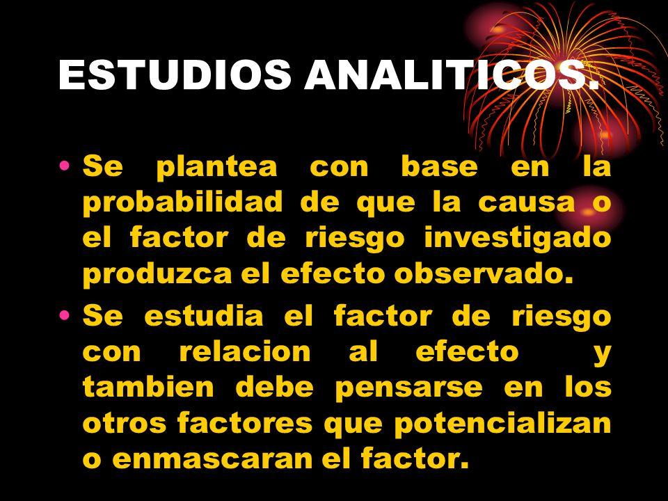 ESTUDIOS ANALITICOS.Se plantea con base en la probabilidad de que la causa o el factor de riesgo investigado produzca el efecto observado.