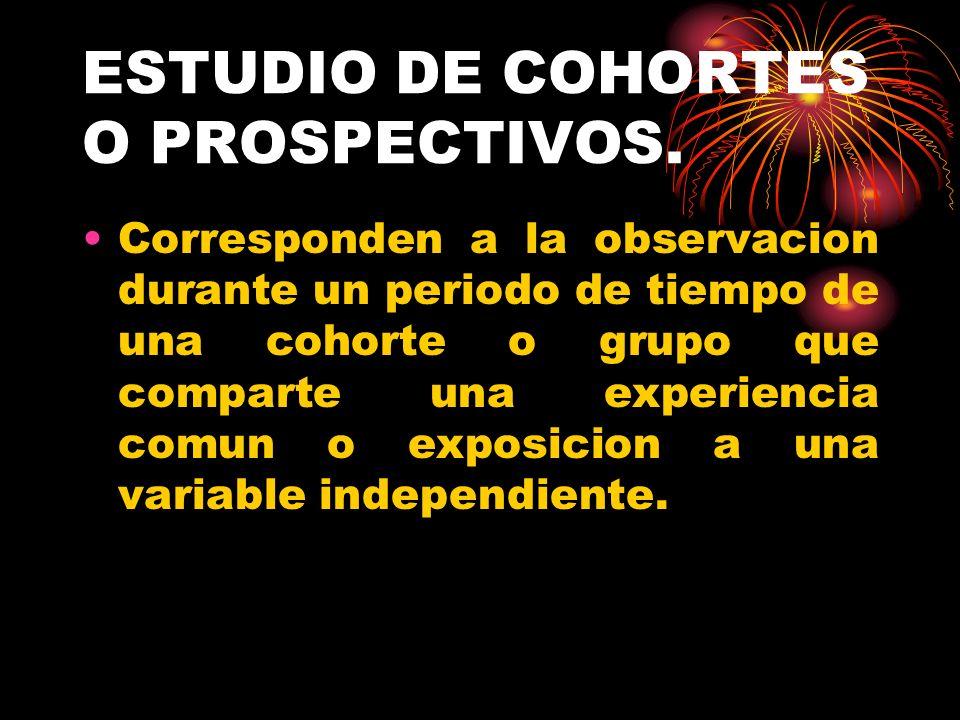ESTUDIO DE COHORTES O PROSPECTIVOS.