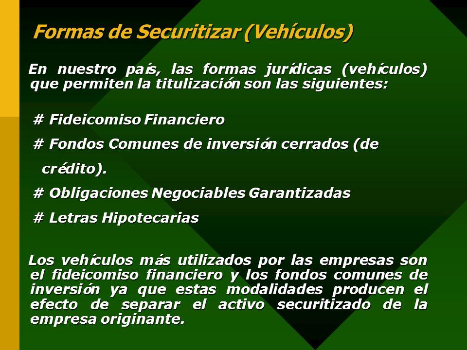 Formas de Securitizar (Vehículos)