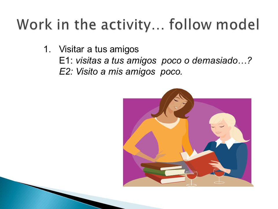 Work in the activity… follow model