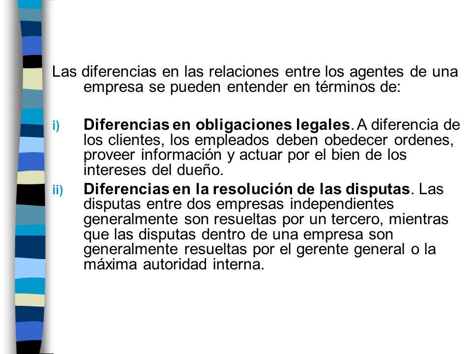 Las diferencias en las relaciones entre los agentes de una empresa se pueden entender en términos de: