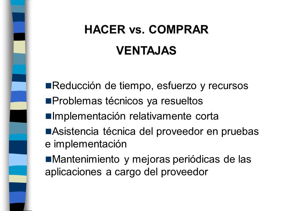 HACER vs. COMPRAR VENTAJAS