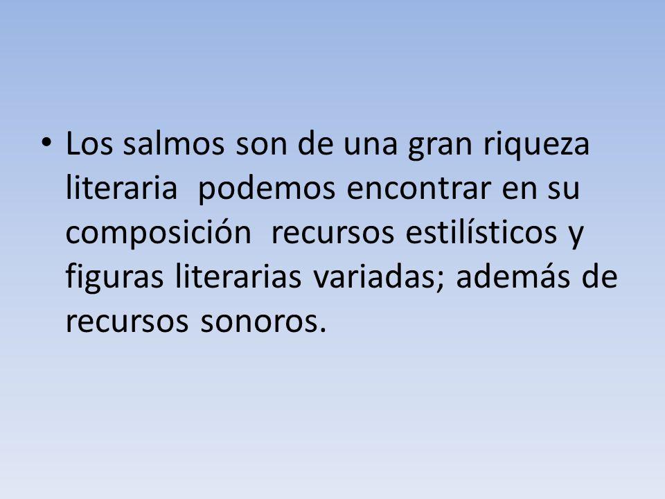 Los salmos son de una gran riqueza literaria podemos encontrar en su composición recursos estilísticos y figuras literarias variadas; además de recursos sonoros.