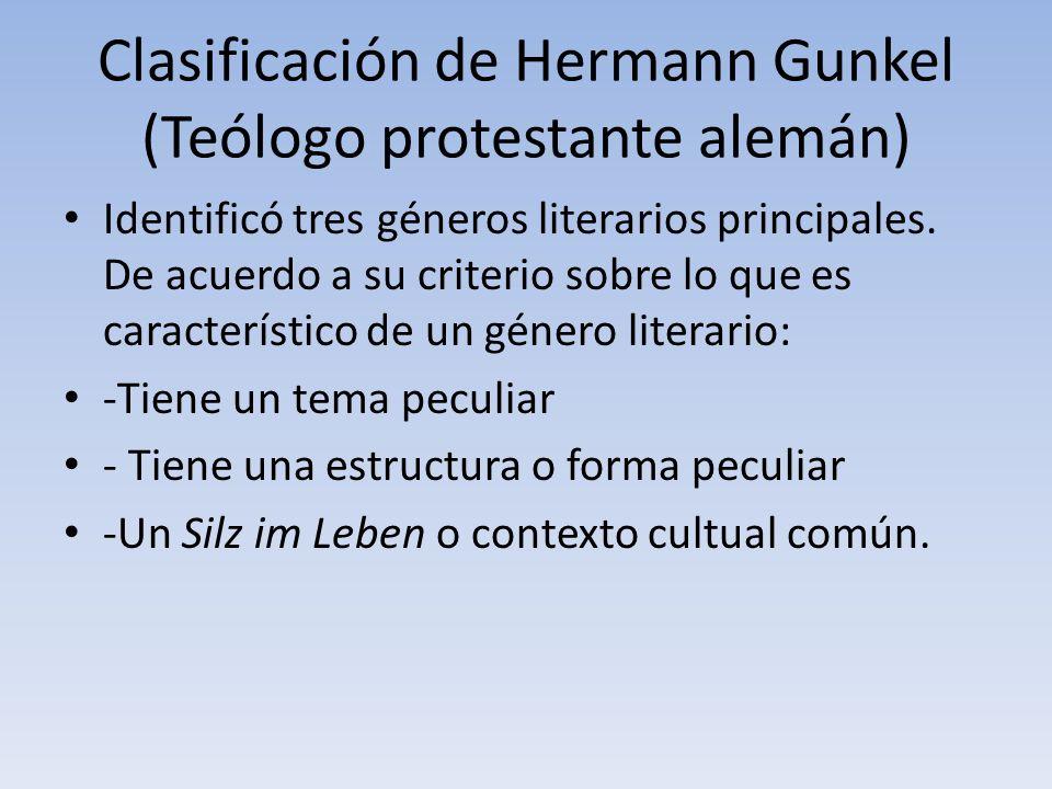Clasificación de Hermann Gunkel (Teólogo protestante alemán)