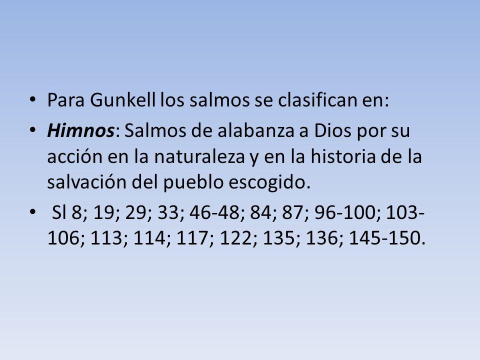 Para Gunkell los salmos se clasifican en: