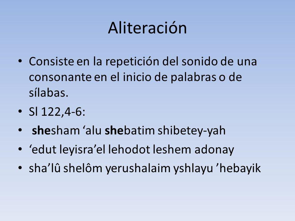 Aliteración Consiste en la repetición del sonido de una consonante en el inicio de palabras o de sílabas.