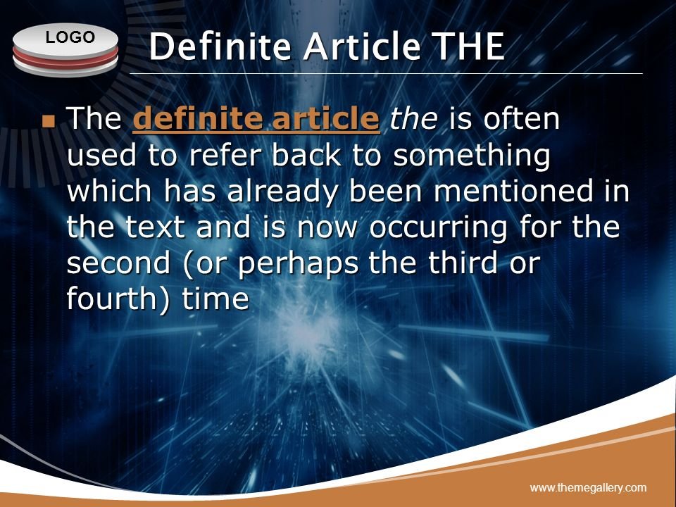 Definite Article THE