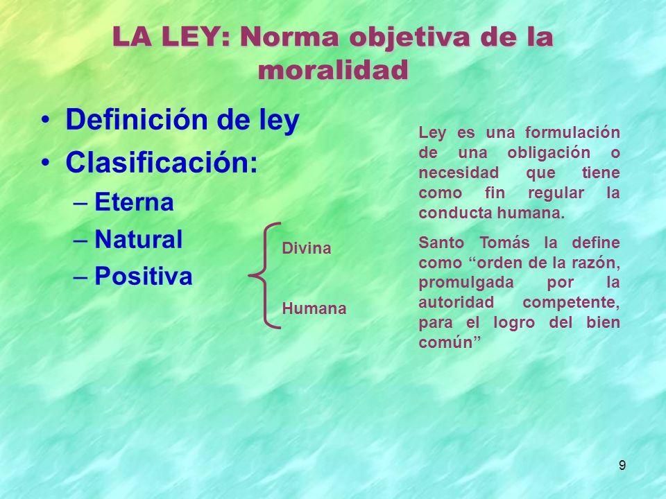 LA LEY: Norma objetiva de la moralidad