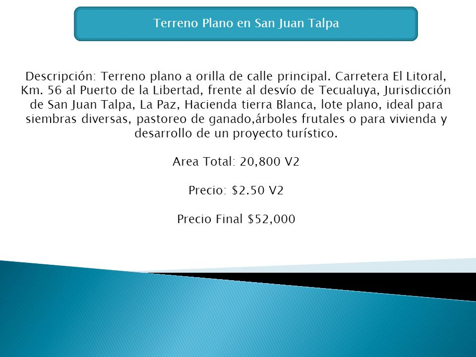 Terreno Plano en San Juan Talpa