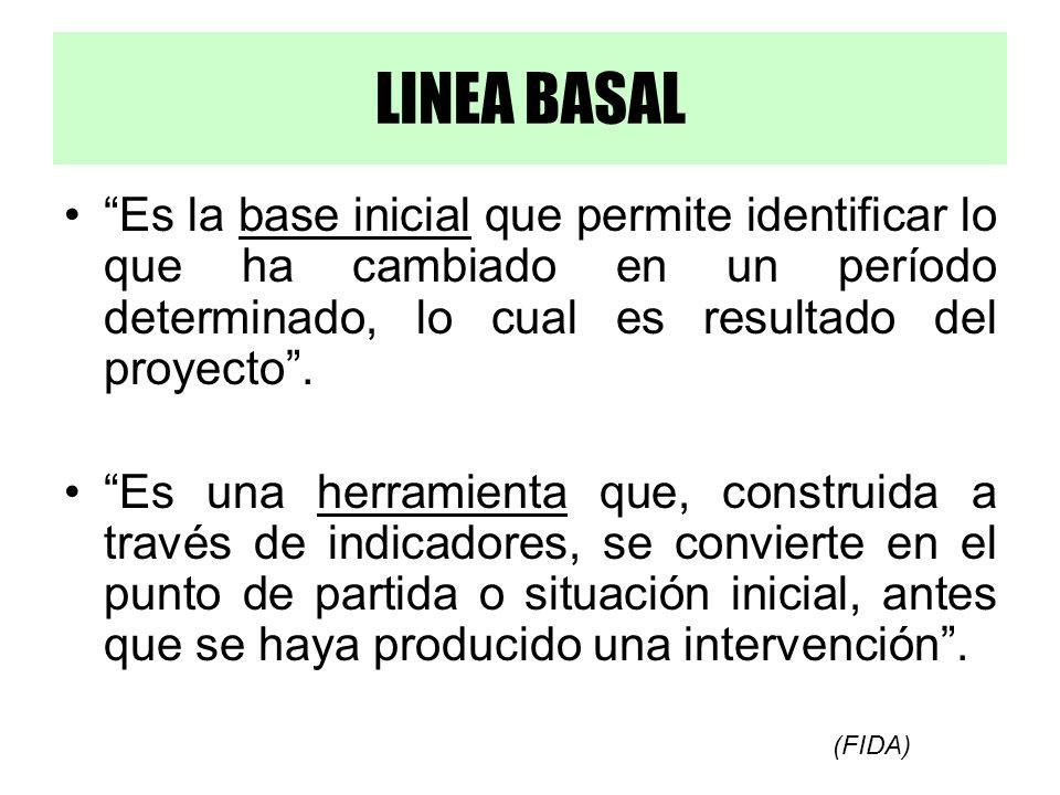 LINEA BASAL Es la base inicial que permite identificar lo que ha cambiado en un período determinado, lo cual es resultado del proyecto .