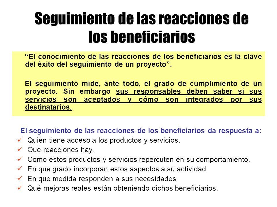 El seguimiento de las reacciones de los beneficiarios da respuesta a: