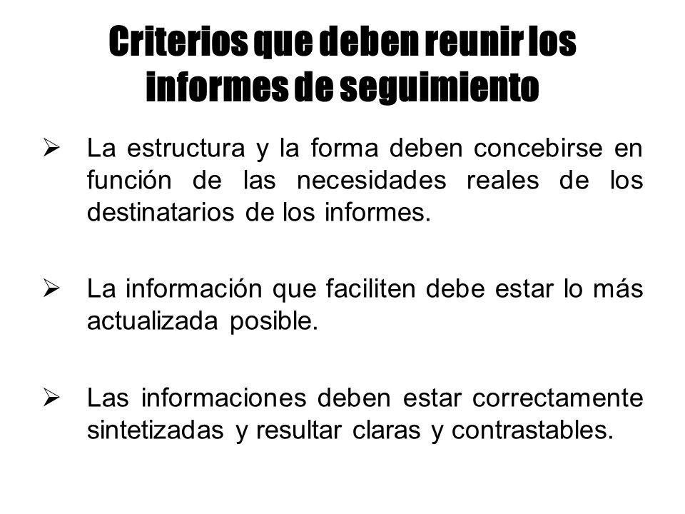 Criterios que deben reunir los informes de seguimiento
