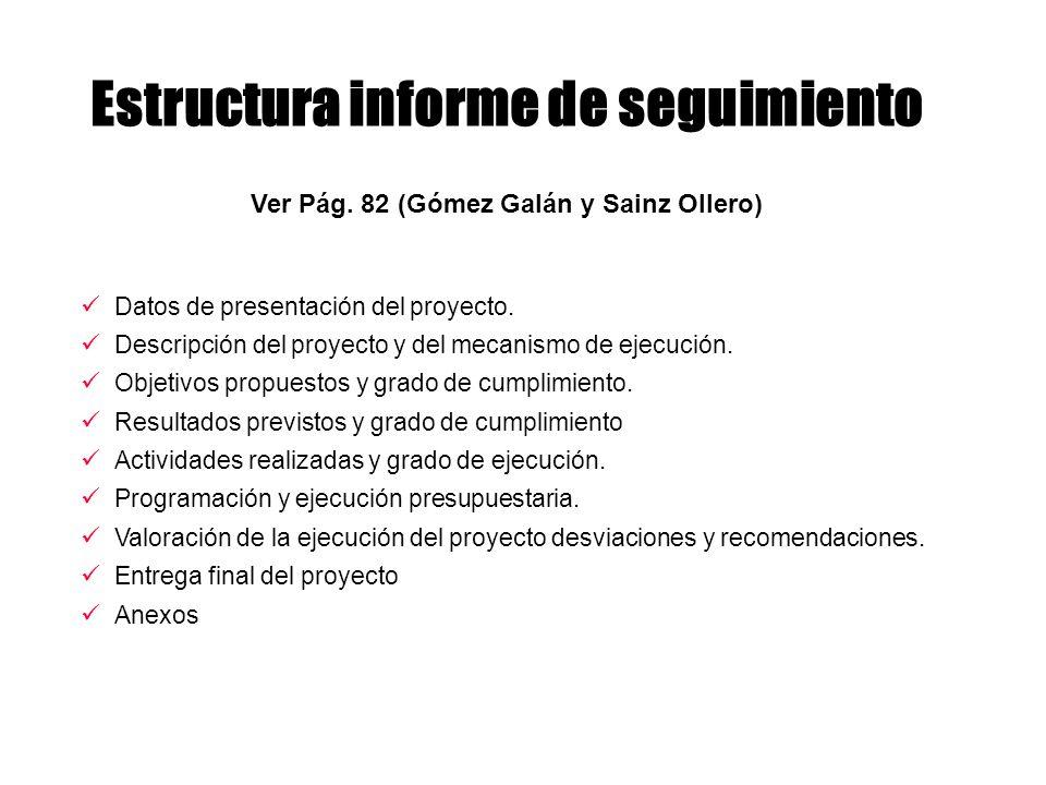 Estructura informe de seguimiento