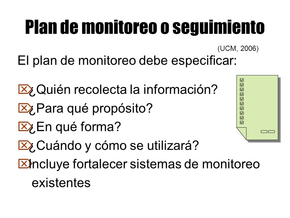 Plan de monitoreo o seguimiento