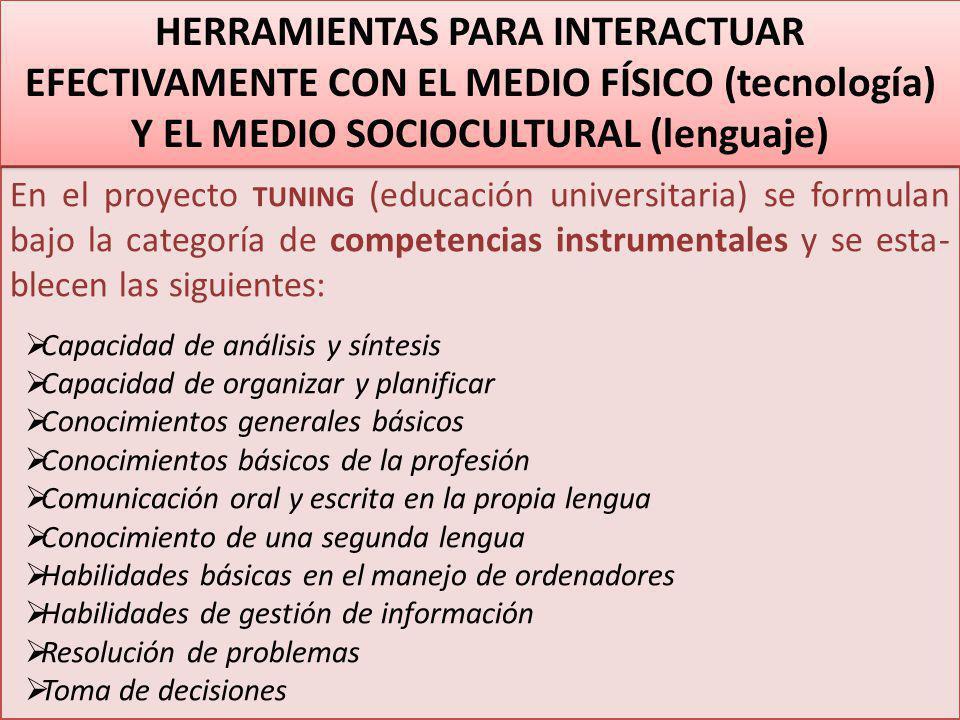 HERRAMIENTAS PARA INTERACTUAR EFECTIVAMENTE CON EL MEDIO FÍSICO (tecnología) Y EL MEDIO SOCIOCULTURAL (lenguaje)