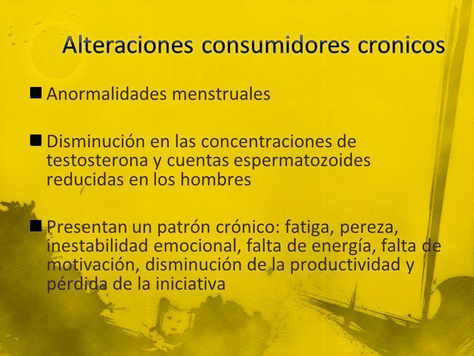 Alteraciones consumidores cronicos