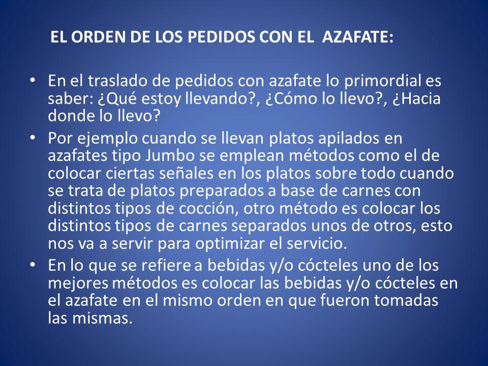 EL ORDEN DE LOS PEDIDOS CON EL AZAFATE: