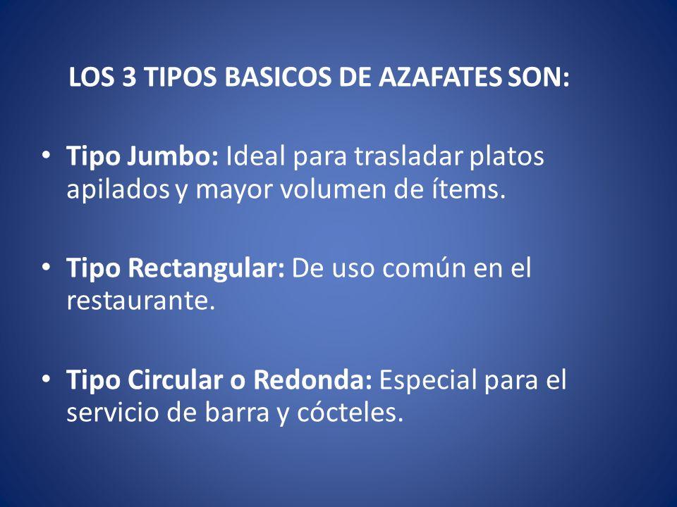 LOS 3 TIPOS BASICOS DE AZAFATES SON: