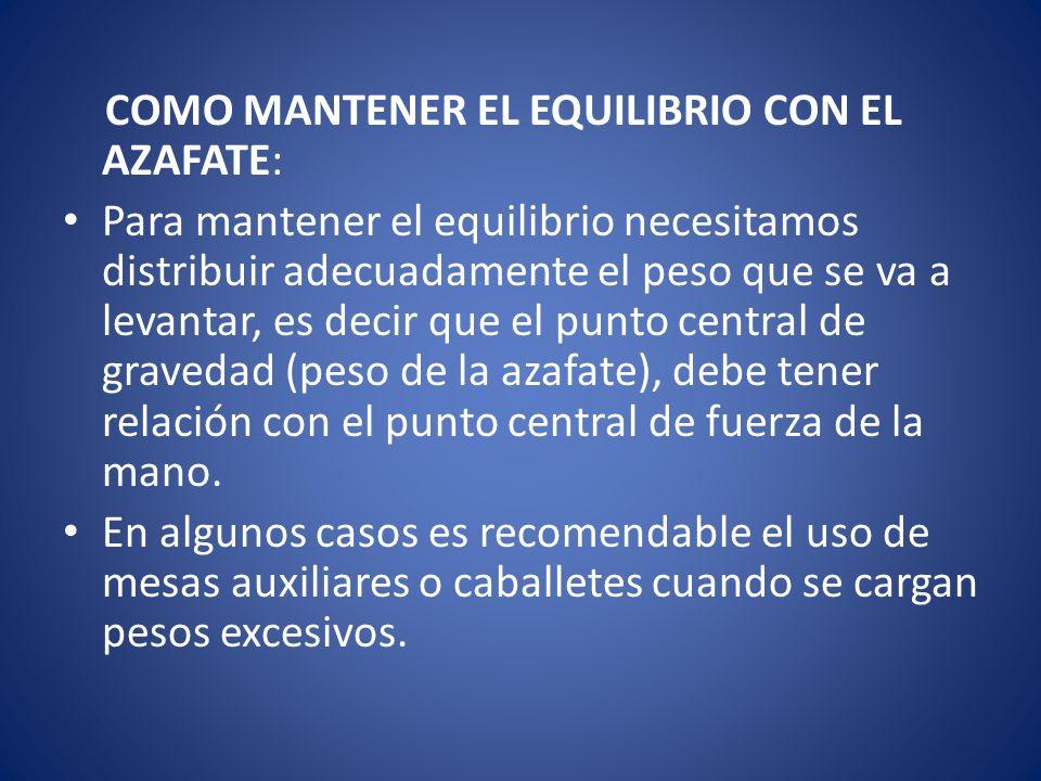 COMO MANTENER EL EQUILIBRIO CON EL AZAFATE: