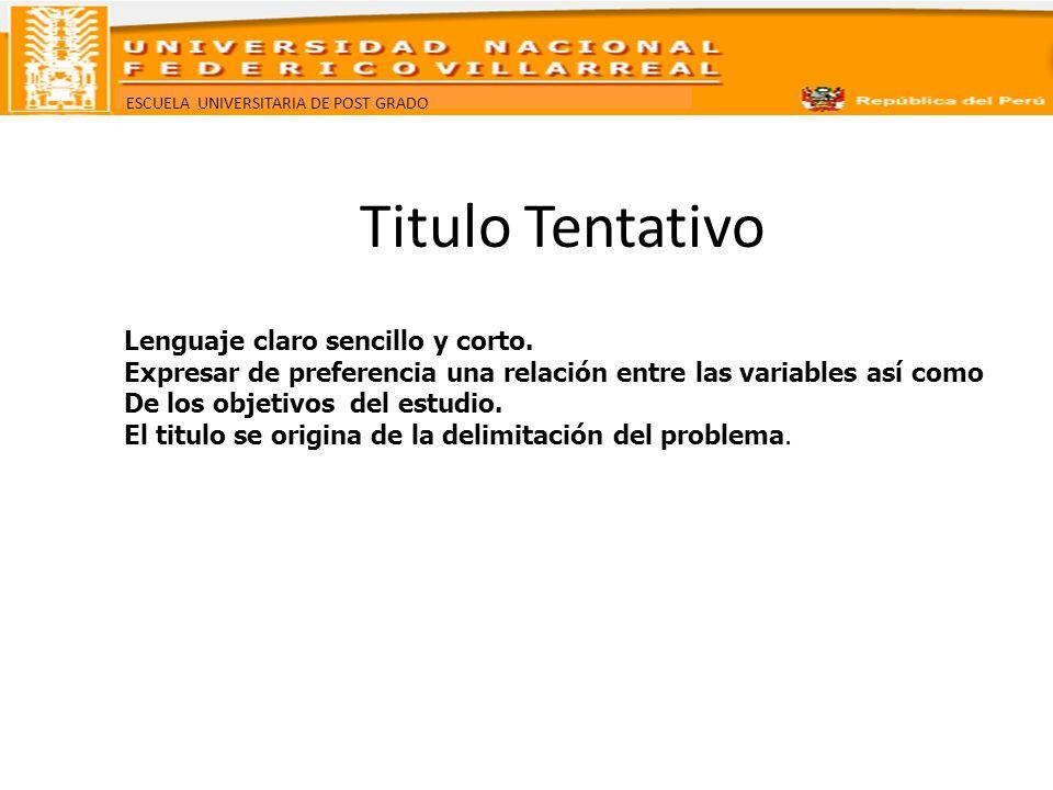 Titulo Tentativo Lenguaje claro sencillo y corto.