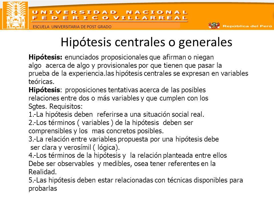 Hipótesis centrales o generales