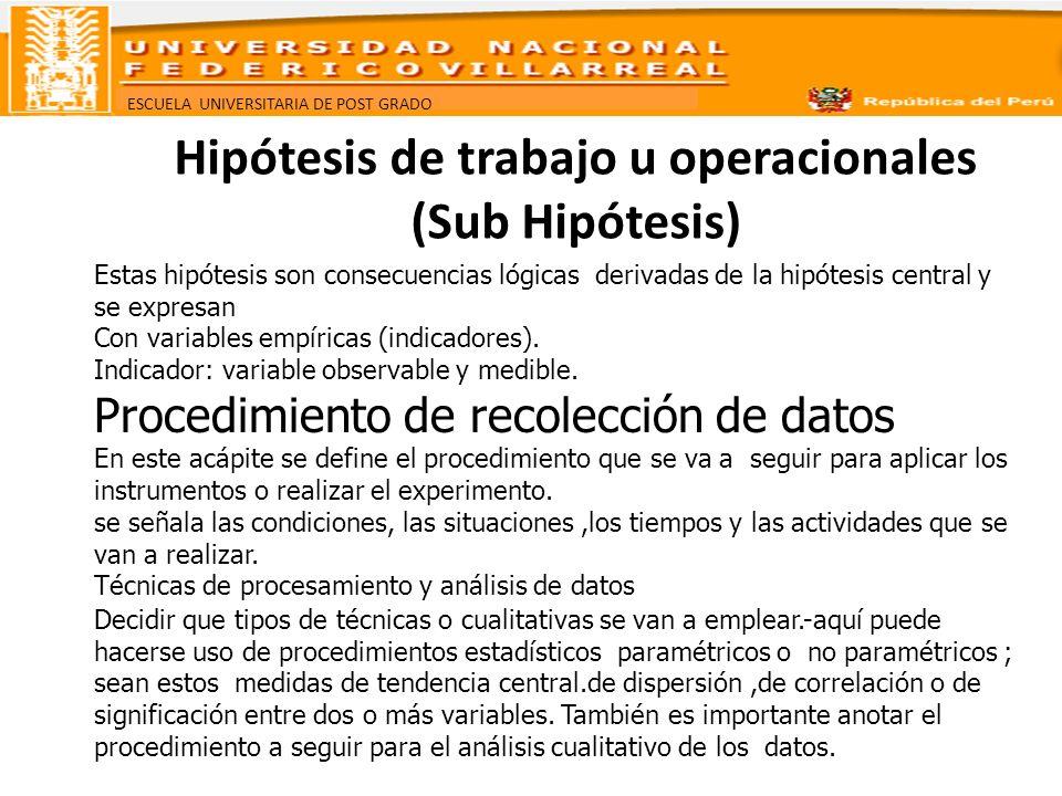 Hipótesis de trabajo u operacionales (Sub Hipótesis)