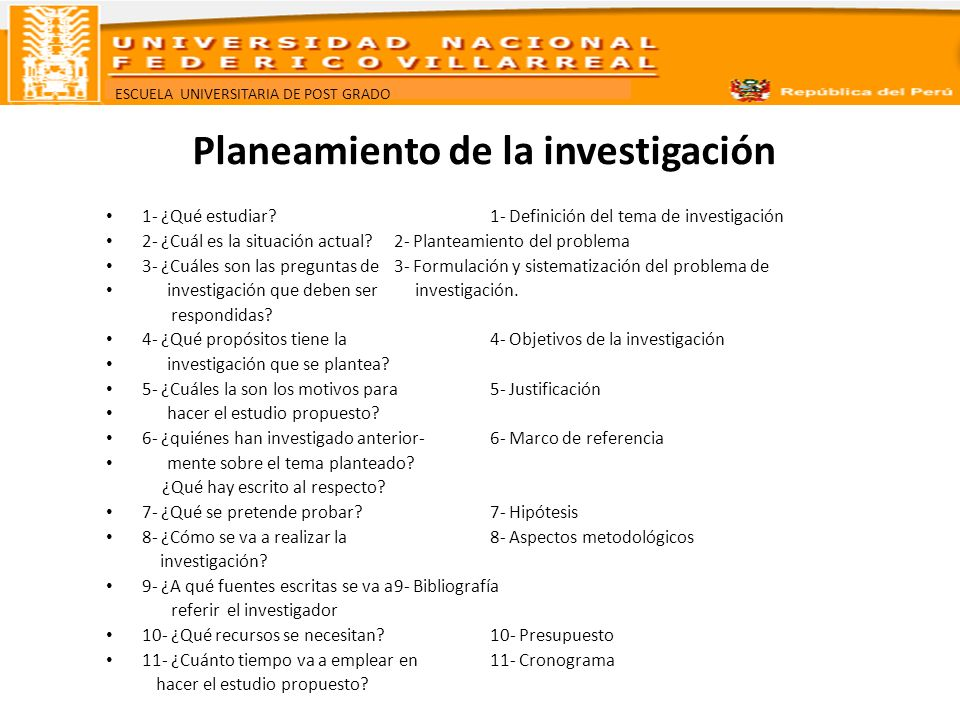 Planeamiento de la investigación