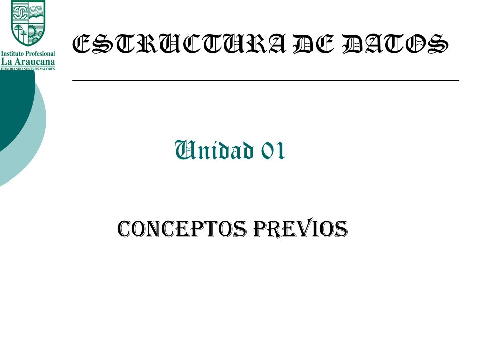 ESTRUCTURA DE DATOS Unidad 01 Conceptos Previos