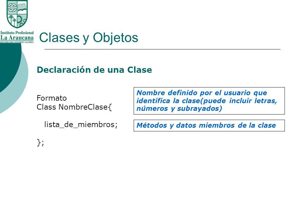 Clases y Objetos Declaración de una Clase Formato Class NombreClase{