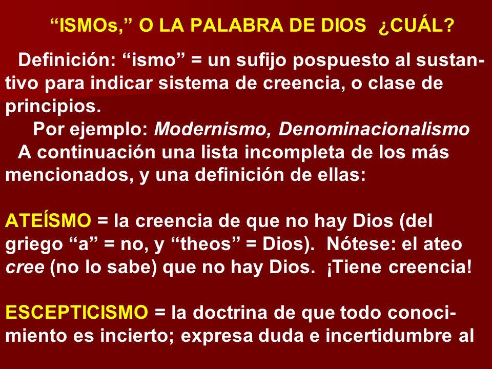 ISMOs, O LA PALABRA DE DIOS ¿CUÁL