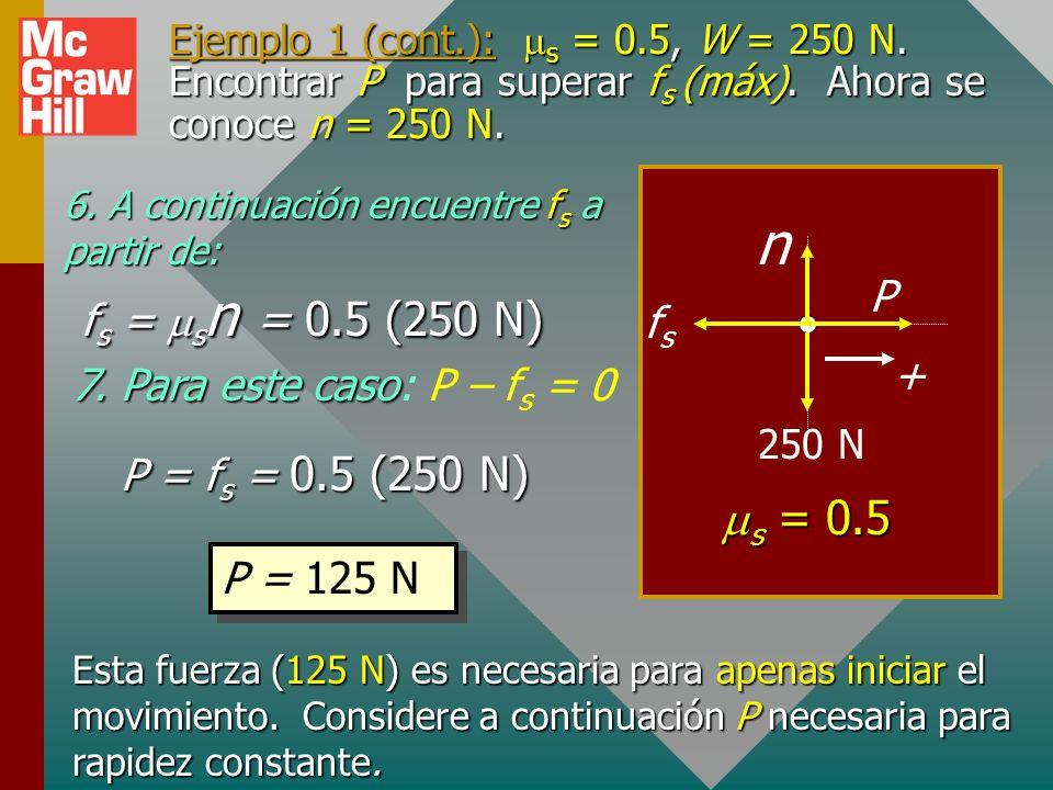n ms = 0.5 P fs = msn = 0.5 (250 N) fs + 7. Para este caso: P – fs = 0