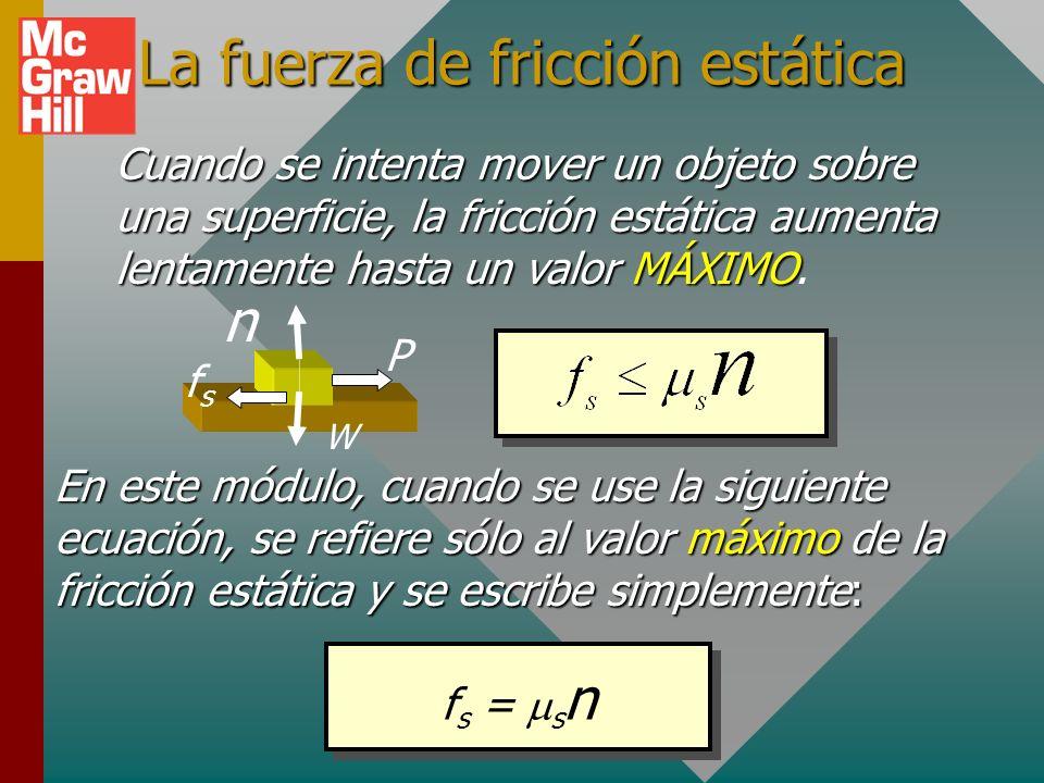 La fuerza de fricción estática