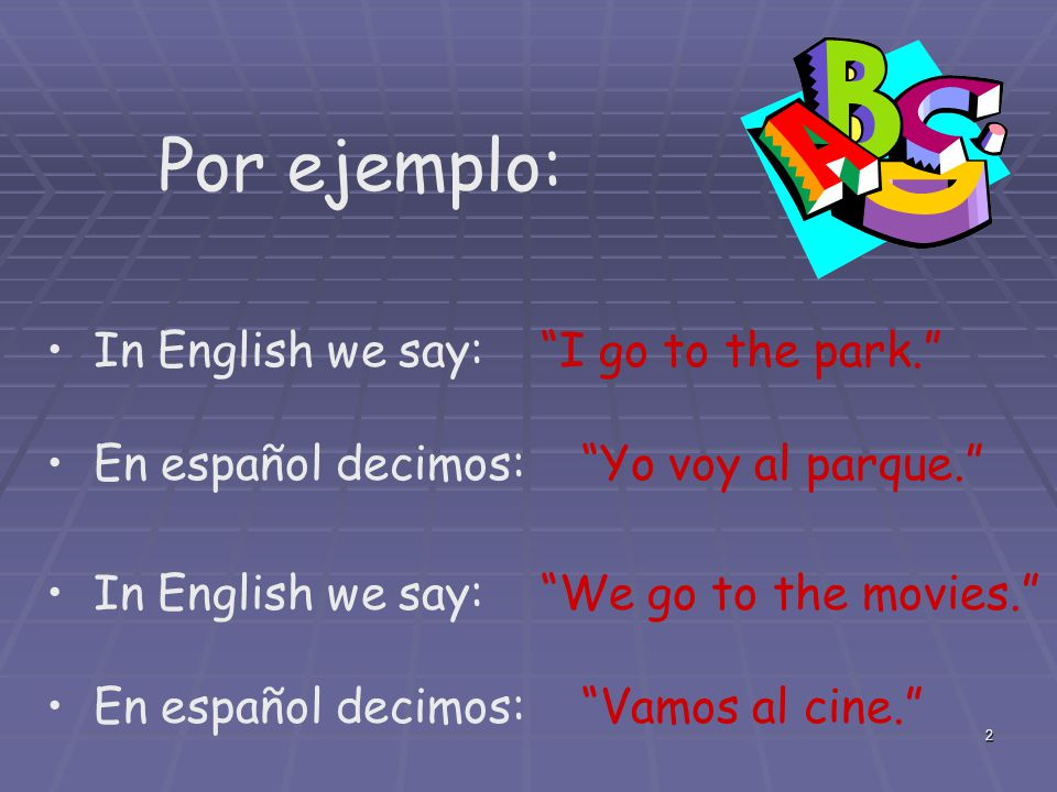 Por ejemplo: In English we say: I go to the park.