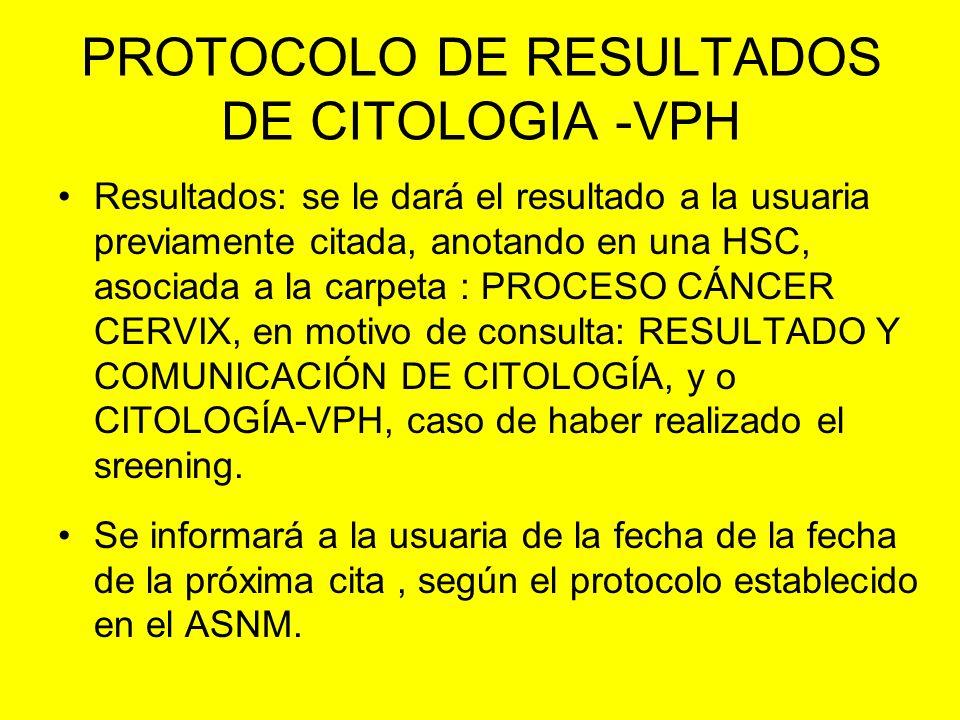 PROTOCOLO DE RESULTADOS DE CITOLOGIA -VPH