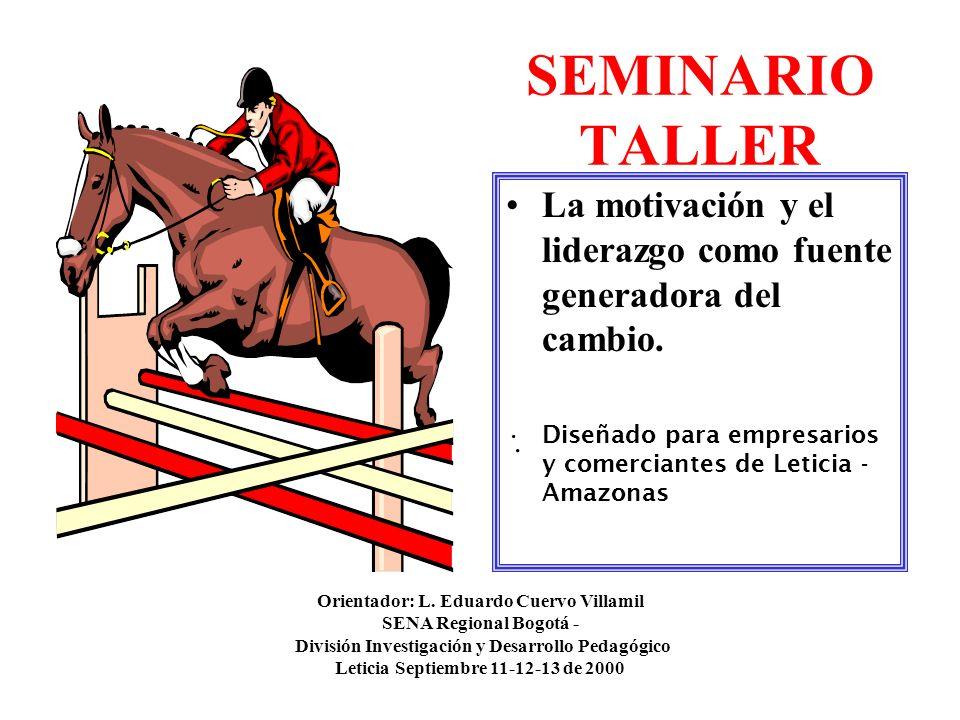 SEMINARIO TALLER La motivación y el liderazgo como fuente generadora del cambio. Diseñado para empresarios y comerciantes de Leticia - Amazonas.