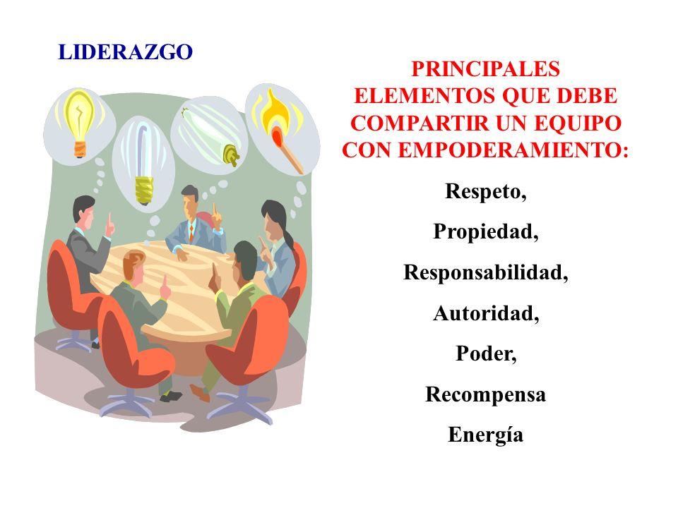 PRINCIPALES ELEMENTOS QUE DEBE COMPARTIR UN EQUIPO CON EMPODERAMIENTO: