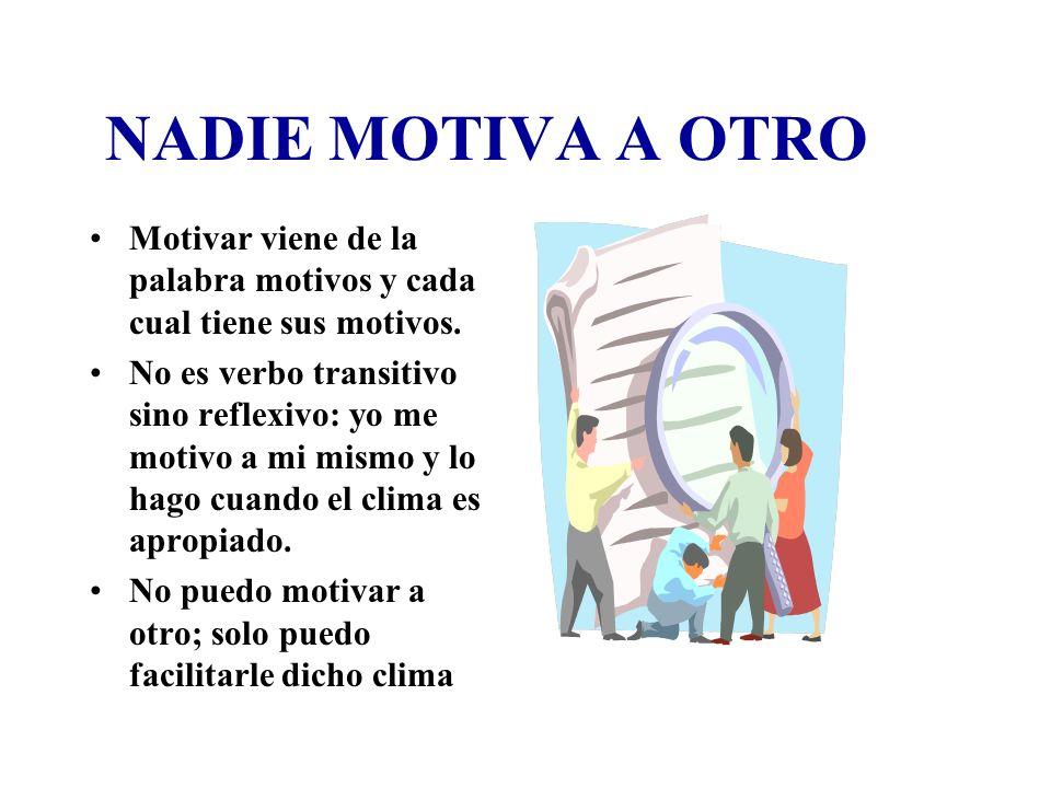 NADIE MOTIVA A OTROMotivar viene de la palabra motivos y cada cual tiene sus motivos.