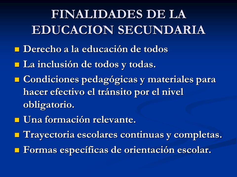 FINALIDADES DE LA EDUCACION SECUNDARIA