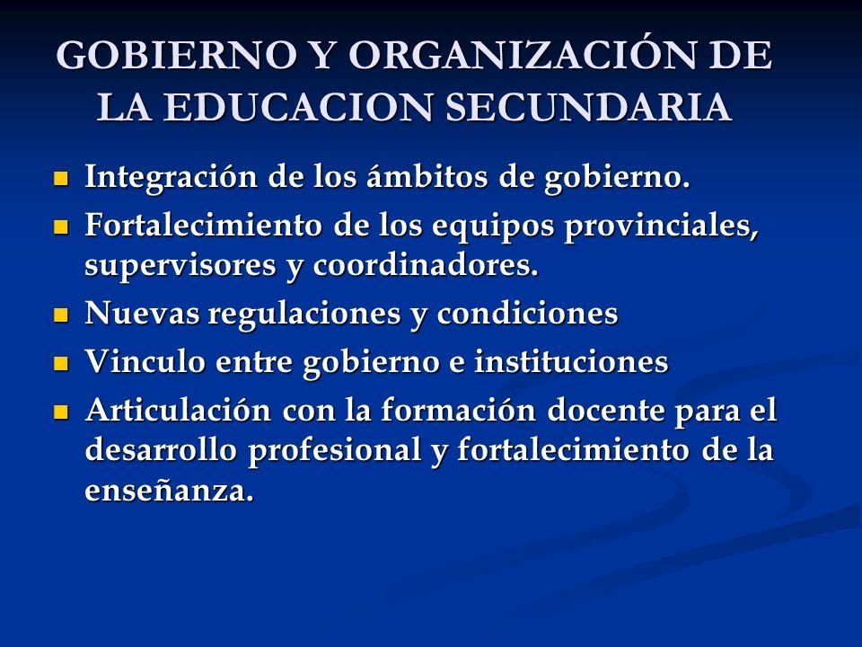 GOBIERNO Y ORGANIZACIÓN DE LA EDUCACION SECUNDARIA