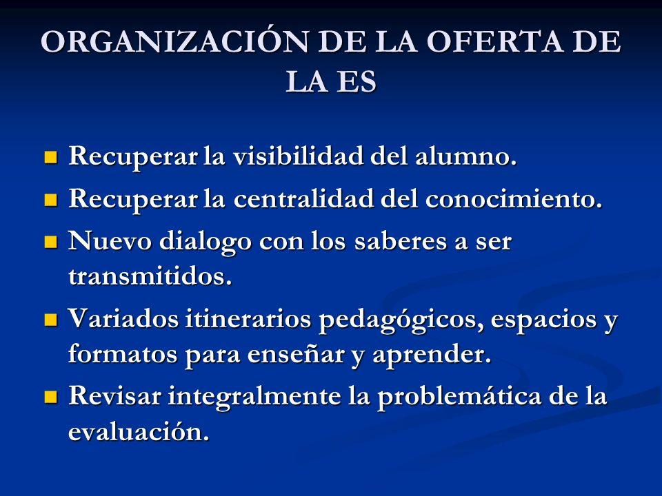 ORGANIZACIÓN DE LA OFERTA DE LA ES