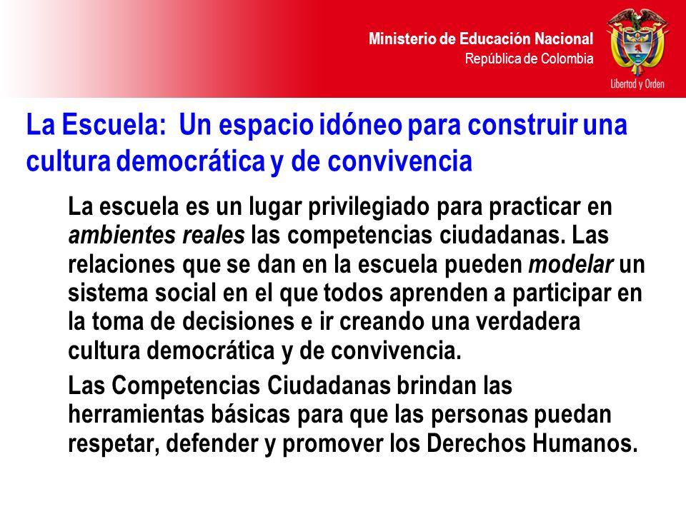 Marzo 2004La Escuela: Un espacio idóneo para construir una cultura democrática y de convivencia.