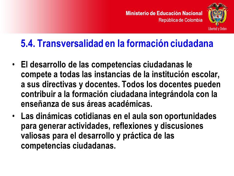 5.4. Transversalidad en la formación ciudadana