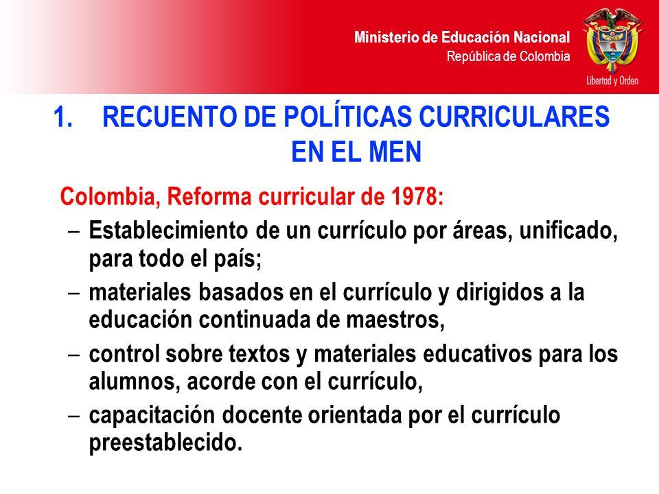 RECUENTO DE POLÍTICAS CURRICULARES EN EL MEN