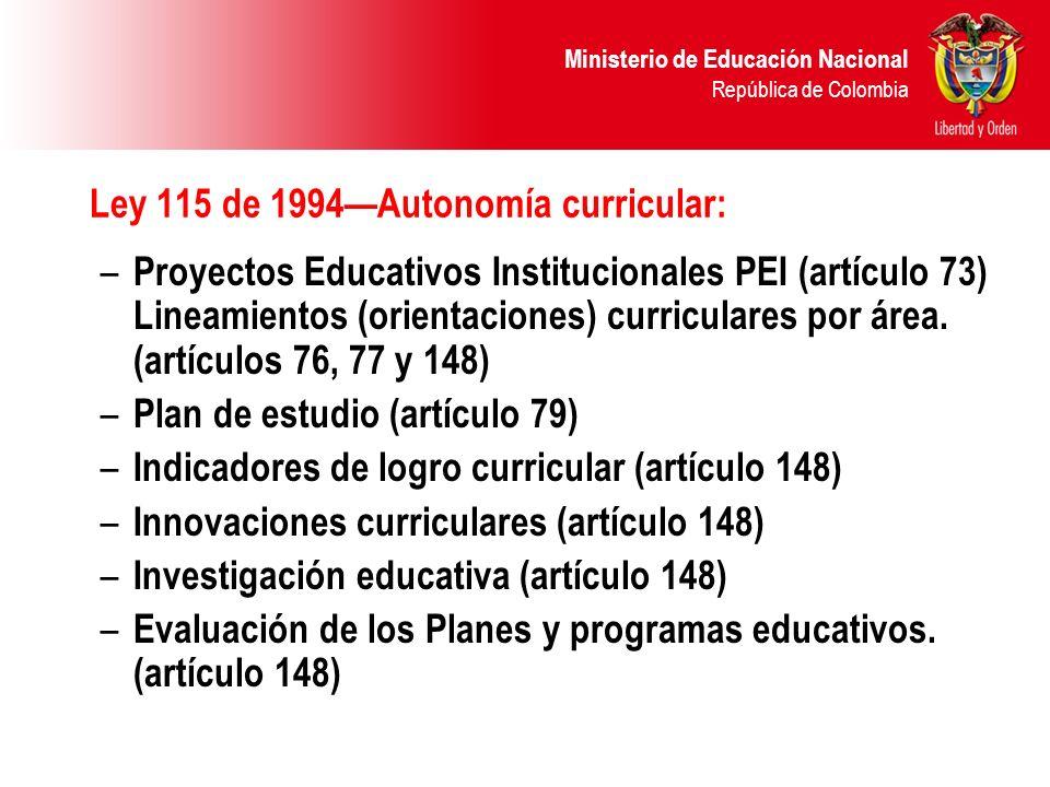 Ley 115 de 1994—Autonomía curricular: