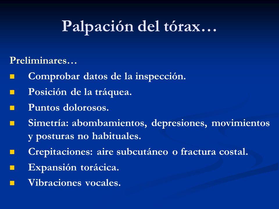Palpación del tórax… Preliminares… Comprobar datos de la inspección.